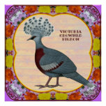 Crowned Pigeon Floral Print