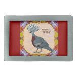 Crowned Pigeon Floral Rectangular Belt Buckle