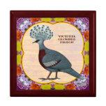 Crowned Pigeon Floral Trinket Box