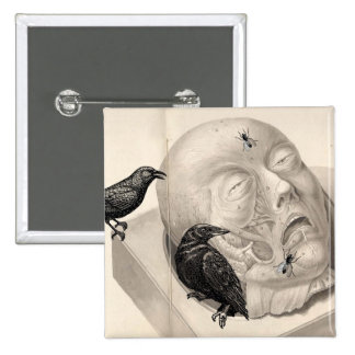 Crows and corpse 15 cm square badge