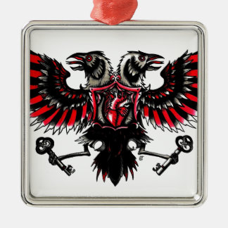 Crows and Hearts Silver-Colored Square Decoration