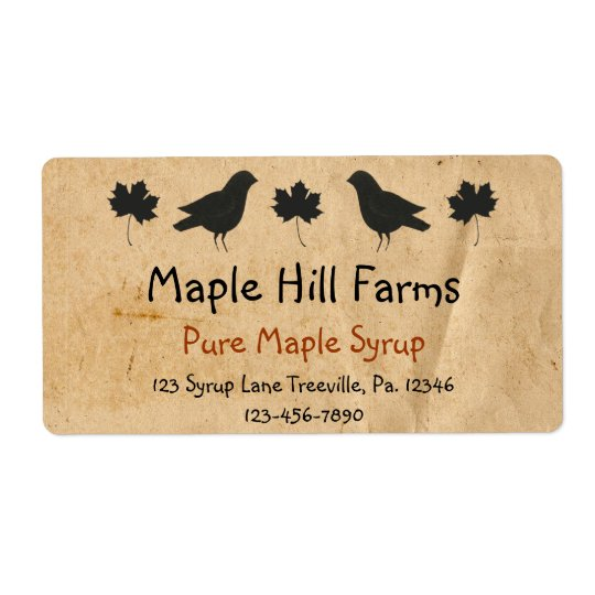 Crows And Maple Leaves Maple Syrup Label Shipping Label