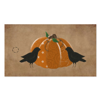 Crows and Pumpkin Primitive Hang Tag Pack Of Standard Business Cards