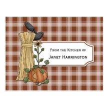 Crows Cornstalks Pumpkin Autumn Recipe Cards