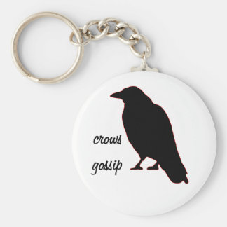 Crows Gossip Basic Round Button Key Ring