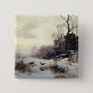 Crows in a Winter Landscape, 1907 15 Cm Square Badge