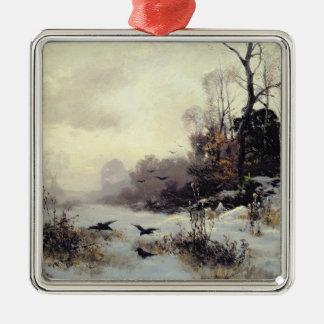 Crows in a Winter Landscape, 1907 Silver-Colored Square Decoration