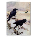 Crows in Winter Vintage Illustration Cards
