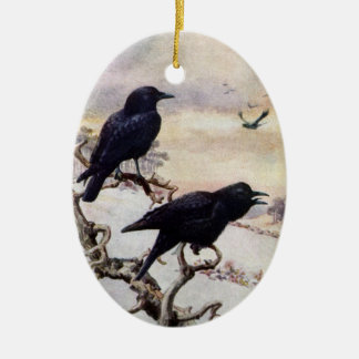 Crows in Winter Vintage Illustration Christmas Ornament