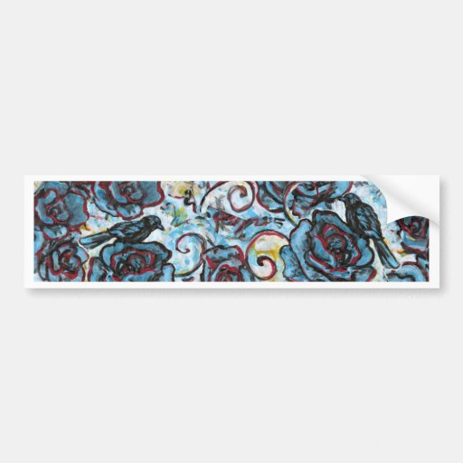 Crows on Blue Roses Bumper Stickers