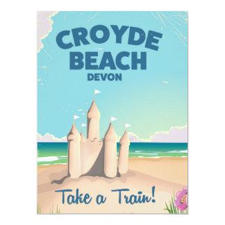 CROYDE BEACH Devon Vintage travel poster 17 Cm X 22 Cm Invitation Card