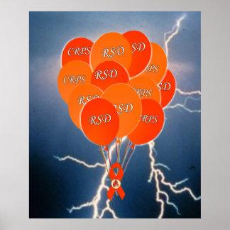 CRPS RSD Awareness Blue Lightning Orange  Balloons Poster