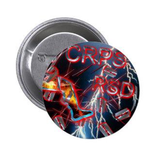 CRPS/RSD Blue Lightning Razor Blades & Needles 6 Cm Round Badge