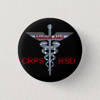 CRPS RSD  Medical Alert Silvear Asclepius Caduceus 3 Cm Round Badge