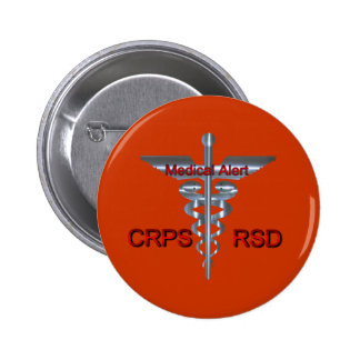 CRPS RSD Medical Alert Silver Asclepius Caduceus 6 Cm Round Badge