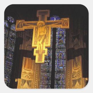 Crucifix above the High altar in the Santa Square Sticker