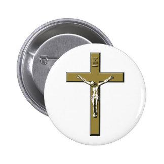 Crucifix in Bronze 6 Cm Round Badge