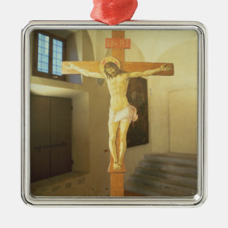 Crucifix (tempera on wood) christmas ornament