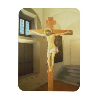 Crucifix (tempera on wood) rectangular photo magnet