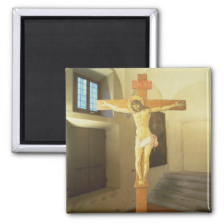 Crucifix (tempera on wood) square magnet