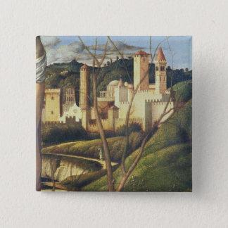 Crucifixion (detail of the background landscape sh 15 cm square badge