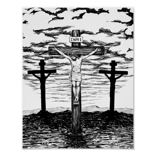 Crucifixion Illustration by Amanda Diehl Poster