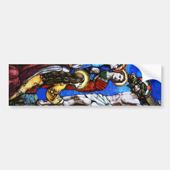 Crucifixion of Jesus Christ Stained Glass Art Bumper