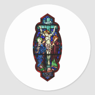 Crucifixion of Jesus Christ Stained Glass Art Stickers