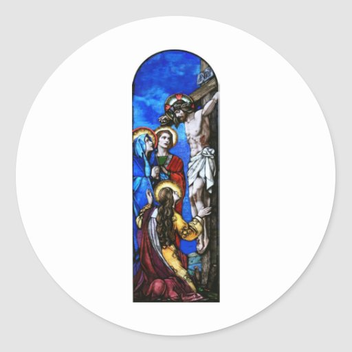 Crucifixion of Jesus Christ Stained Glass Art Round Sticker