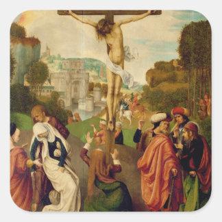 Crucifixion (oil on panel) square sticker