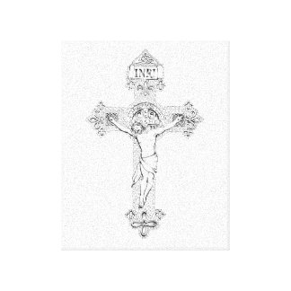 Crucifixion, pen and ink by Jenny McLaughlin Canvas Print