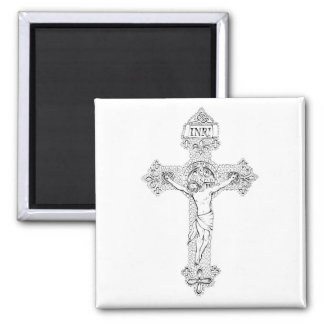 Crucifixion, pen and ink by Jenny McLaughlin Square Magnet
