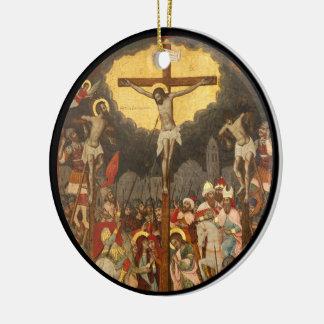 Crucifixion  Scene 1711 Round Ceramic Decoration