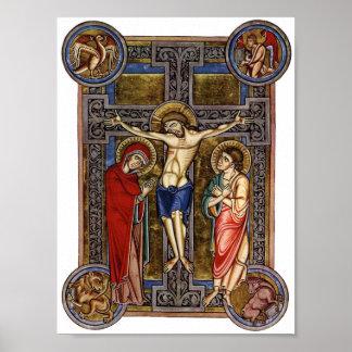 Crucifixion Weingarten Missal 13th century Posters
