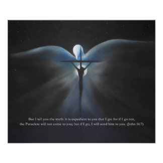 Crucifixion, with the Holy Spirit, with Scripture Poster