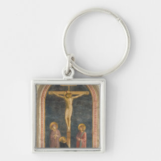 Crucifixion with the Virgin, SS. John the Evangeli Silver-Colored Square Key Ring