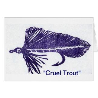 """Cruel Trout"" Purple Matuka Greeting Card"