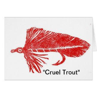 """Cruel Trout"" Red Mutuka Greeting Card"