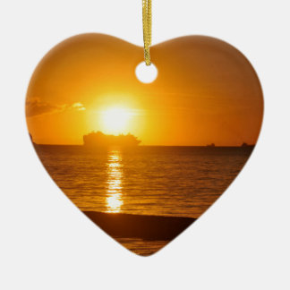 Cruise at sunset ceramic heart decoration