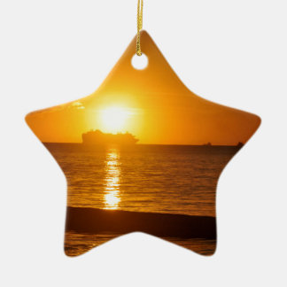 Cruise at sunset christmas ornament
