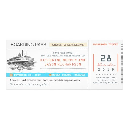 cruise boarding pass save the date tickets personalized invites
