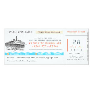 cruise boarding pass save the date tickets 10 cm x 24 cm invitation card