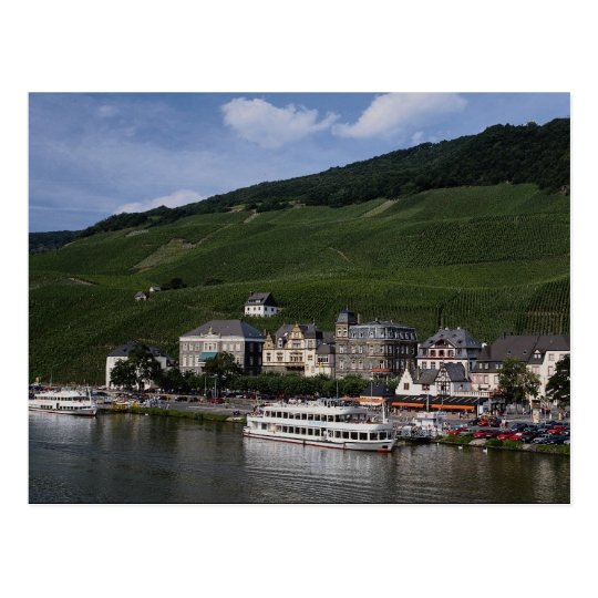 Cruise boat on Mosel River, Bernkastel Kues, Germa Postcard