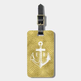 Cruise Gold Chevron Glitter Travel Luggage Tag