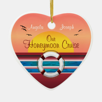 Cruise Honeymoon - Sunset Template Heart Christmas Ornament