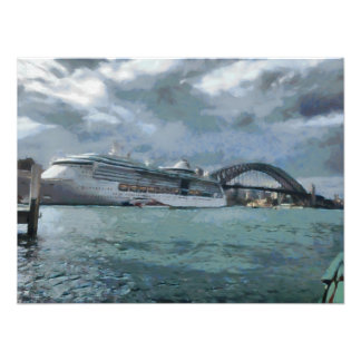 Cruise liner and Sydney Harbour bridge Photographic Print