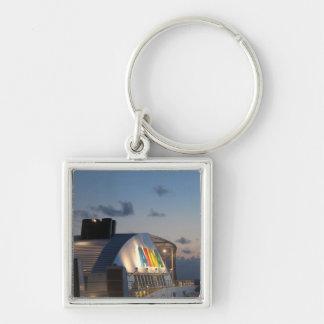 Cruise Ship AIDAluna  - Caribbean Sunset Silver-Colored Square Key Ring