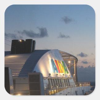 Cruise Ship AIDAluna  - Caribbean Sunset Square Sticker