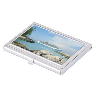 Cruise Ship at CocoCay Business Card Holder