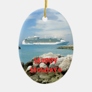 Cruise Ship at CocoCay Custom Ceramic Oval Decoration